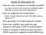 issues for discussion 2