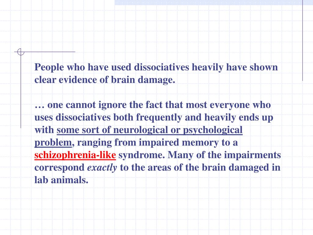 People who have used dissociatives heavily have shown clear evidence of brain damage.