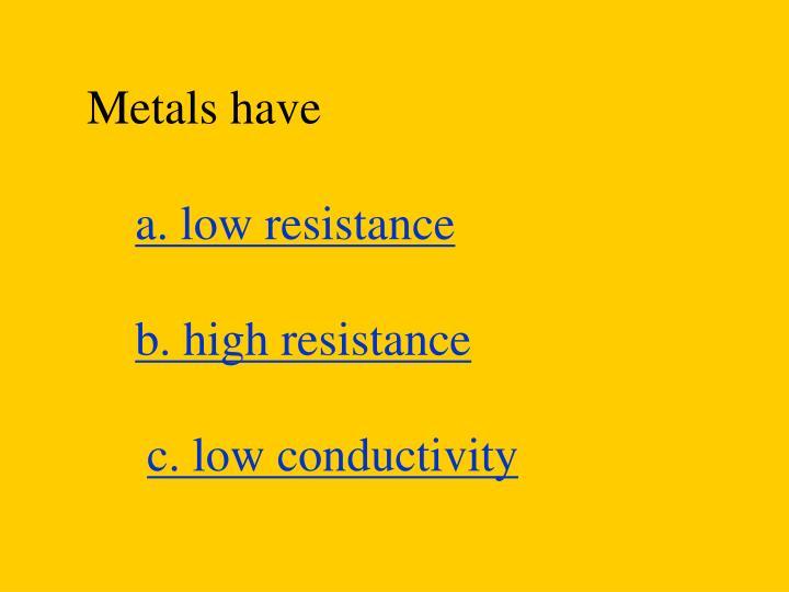 Metals have