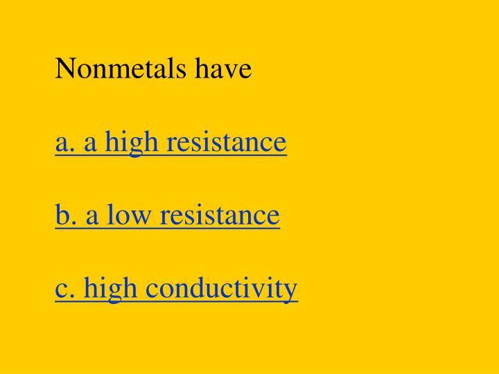 Nonmetals have