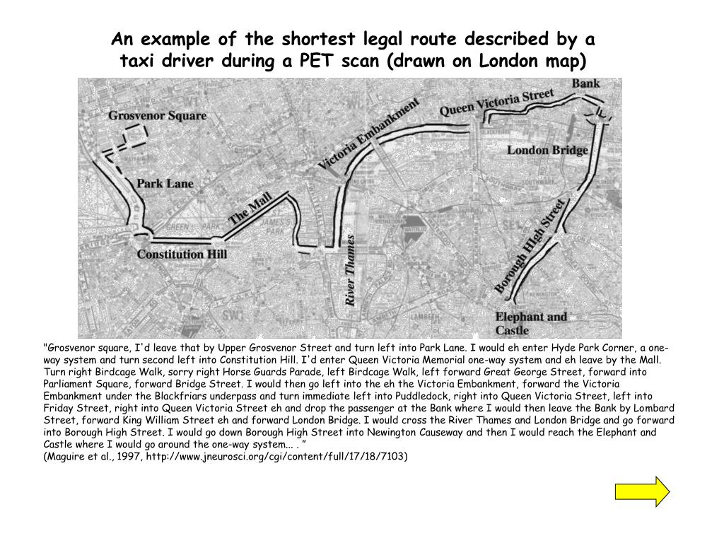 An example of the shortest legal route described by a taxi driver during a PET scan (drawn on London map)
