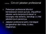 lanjutan ciri ciri jabatan profesional