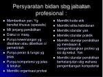 persyaratan bidan sbg jabatan profesional