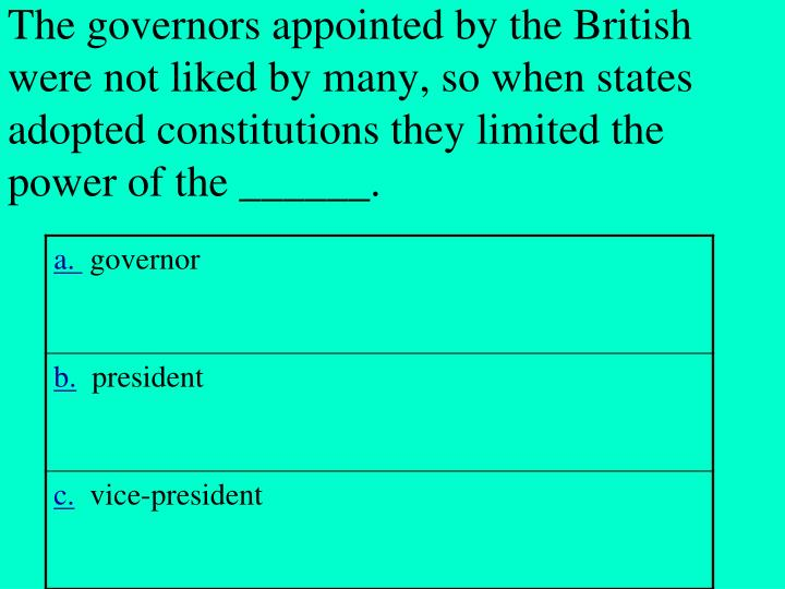 The governors appointed by the British were not liked by many, so when states adopted constitutions they limited the power of the ______.