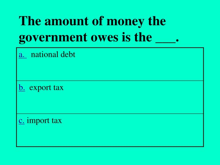 The amount of money the government owes is the ___.