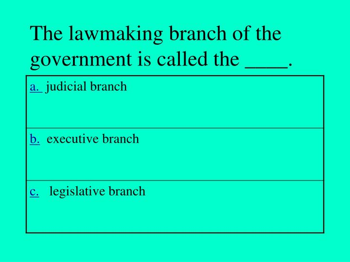 The lawmaking branch of the government is called the ____.