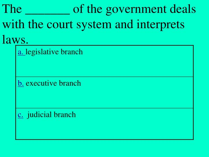 The _______ of the government deals with the court system and interprets laws.