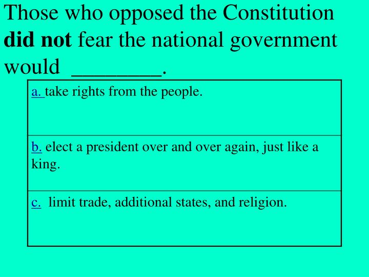 Those who opposed the Constitution