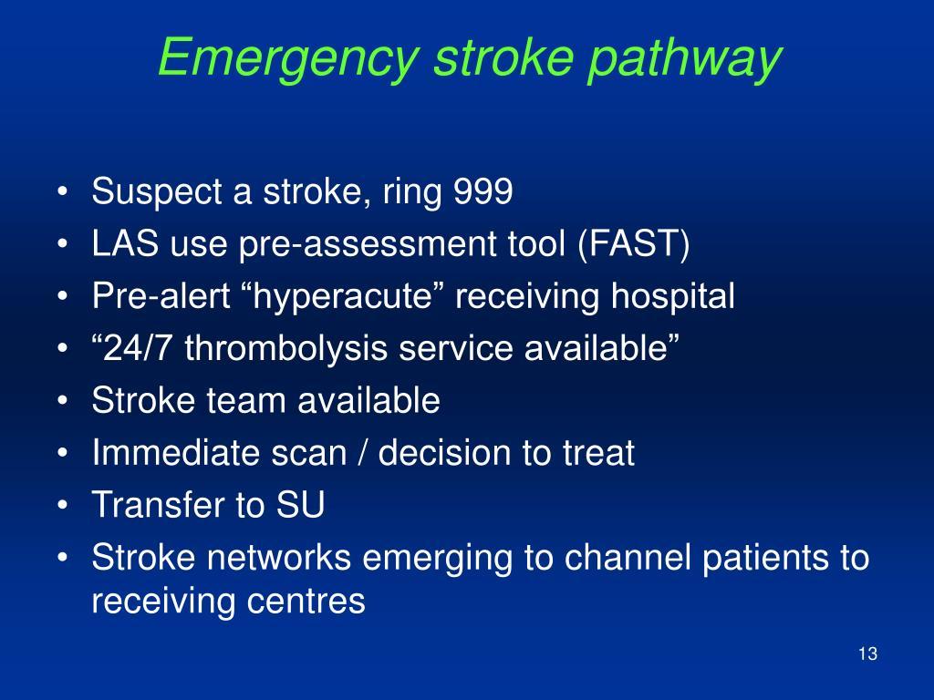 Emergency stroke pathway