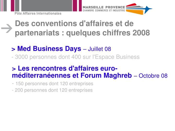 Des conventions d'affaires et de partenariats : quelques chiffres 2008