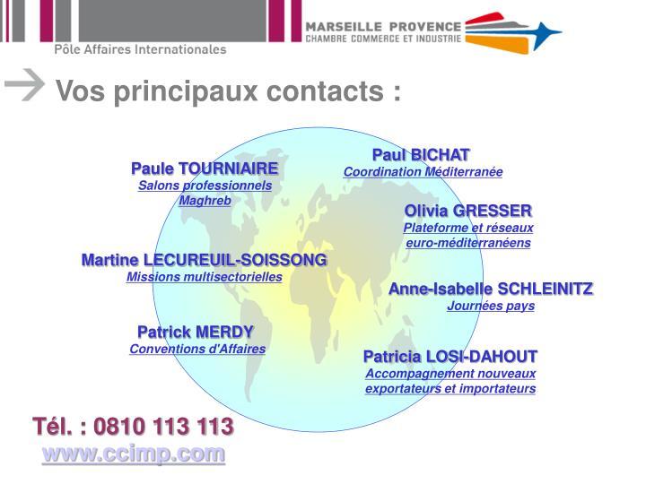Vos principaux contacts :