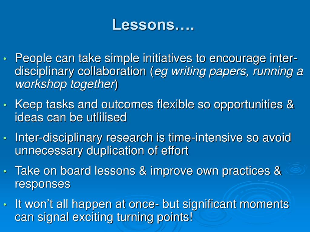 Lessons….