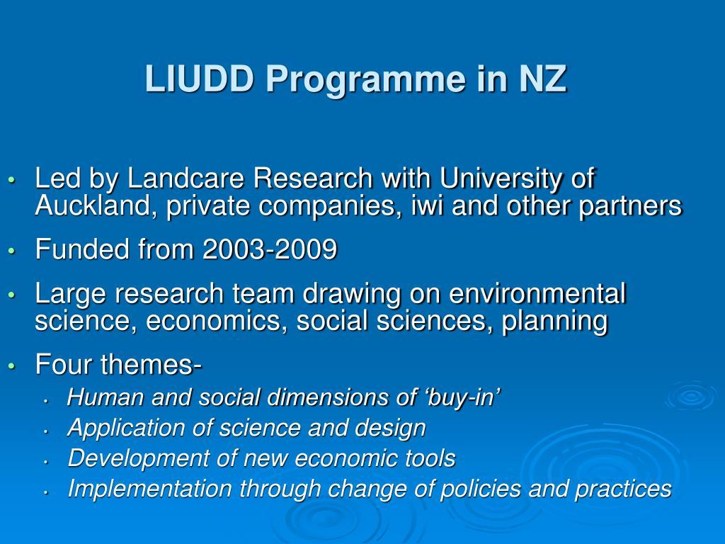 LIUDD Programme in NZ