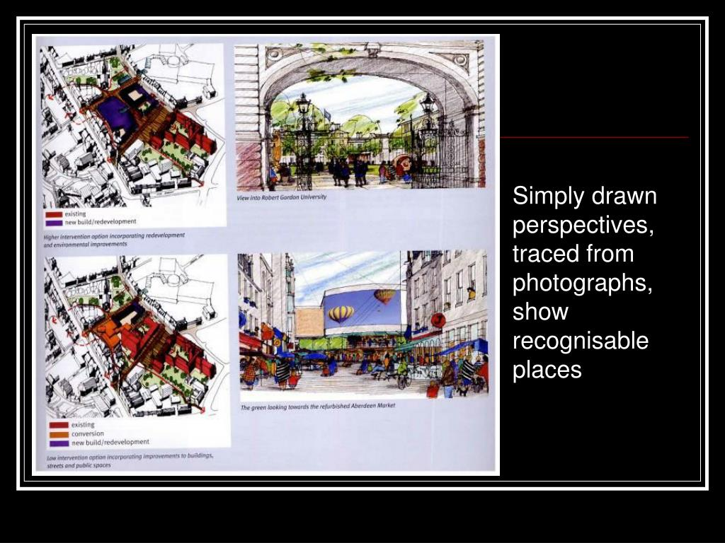 Simply drawn perspectives, traced from photographs, show recognisable places