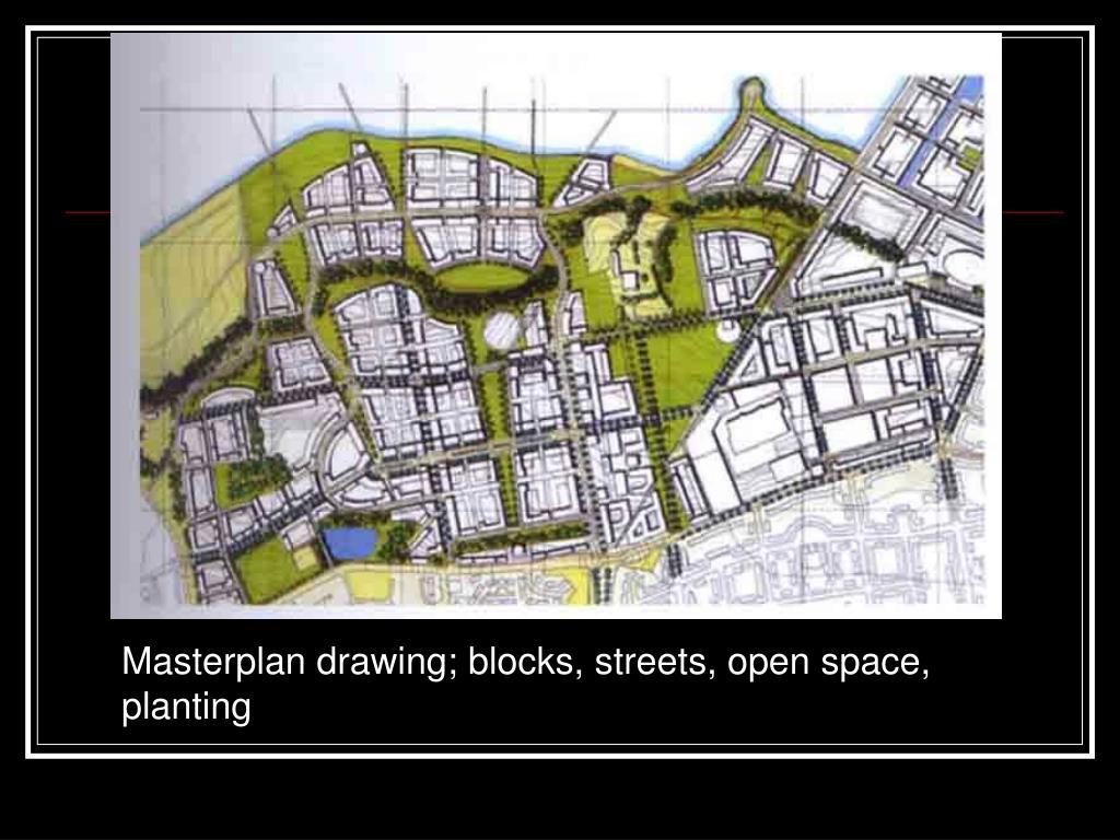 Masterplan drawing; blocks, streets, open space, planting