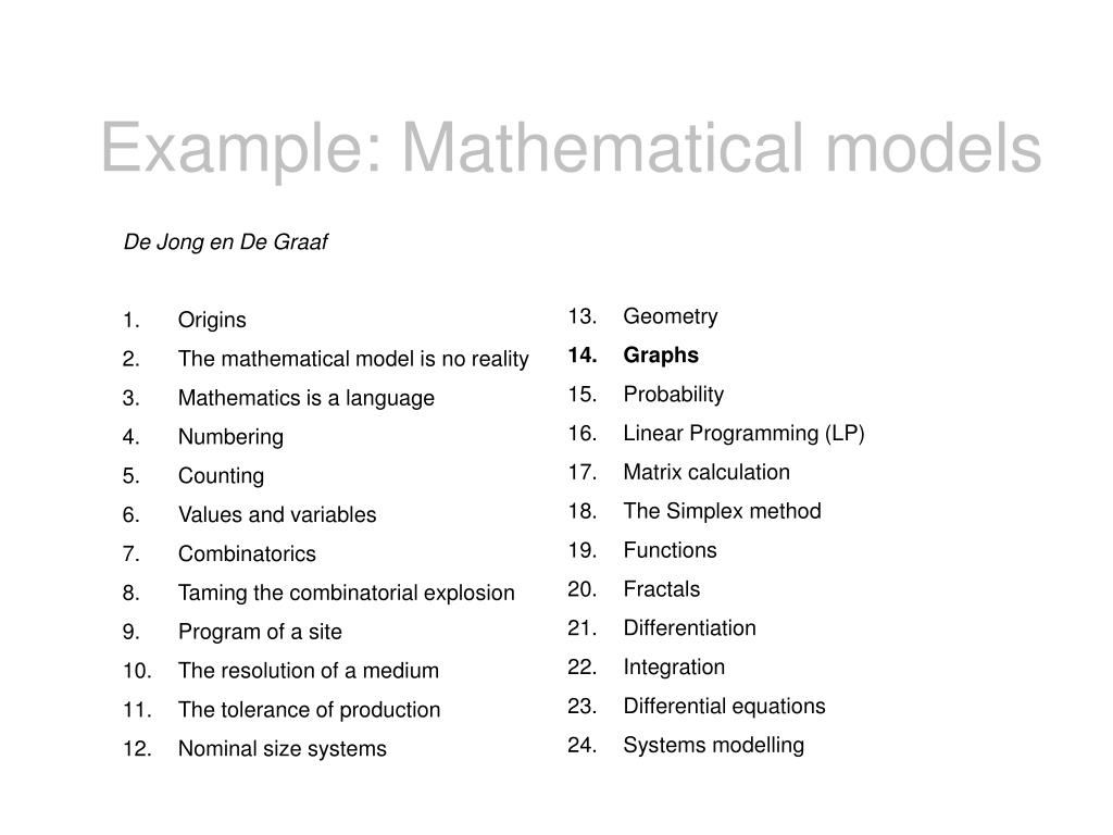 Example: Mathematical models