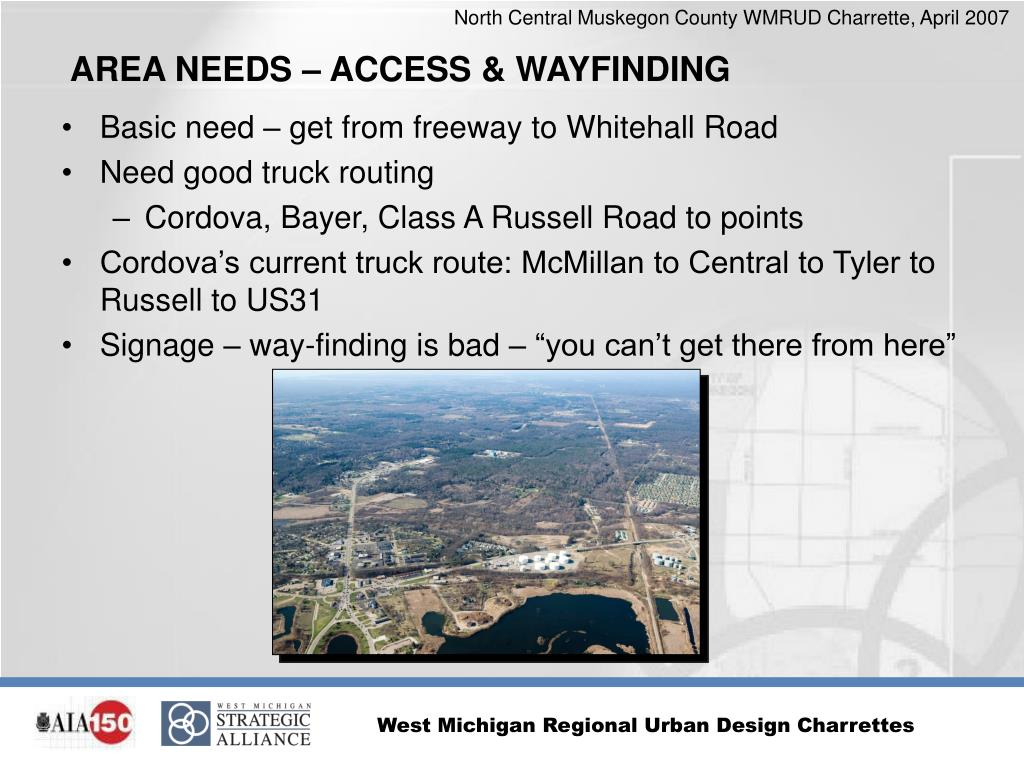 Basic need – get from freeway to Whitehall Road