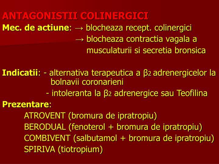 ANTAGONISTII COLINERGICI