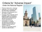 criteria for adverse impact under the national register