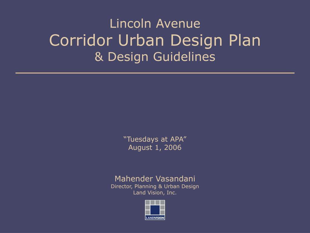 lincoln avenue corridor urban design plan design guidelines l.