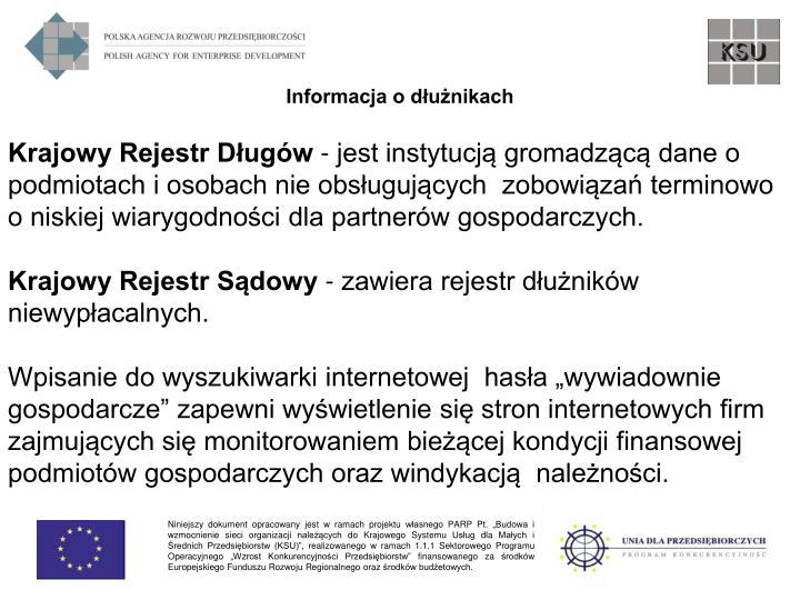 Informacja o dłużnikach