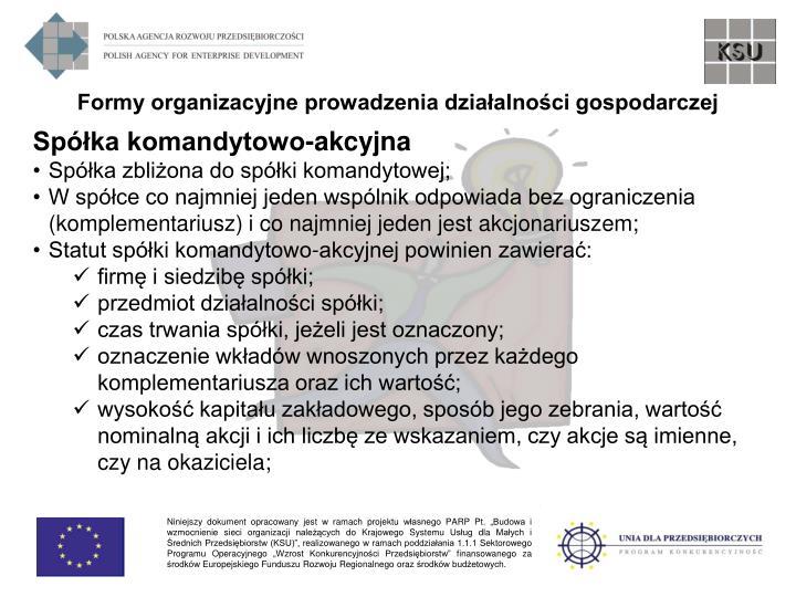 Formy organizacyjne prowadzenia działalności gospodarczej