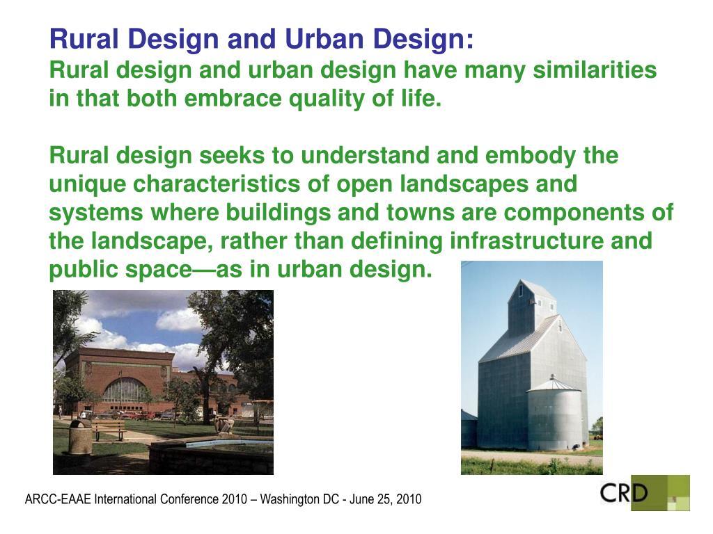 Rural Design and Urban Design: