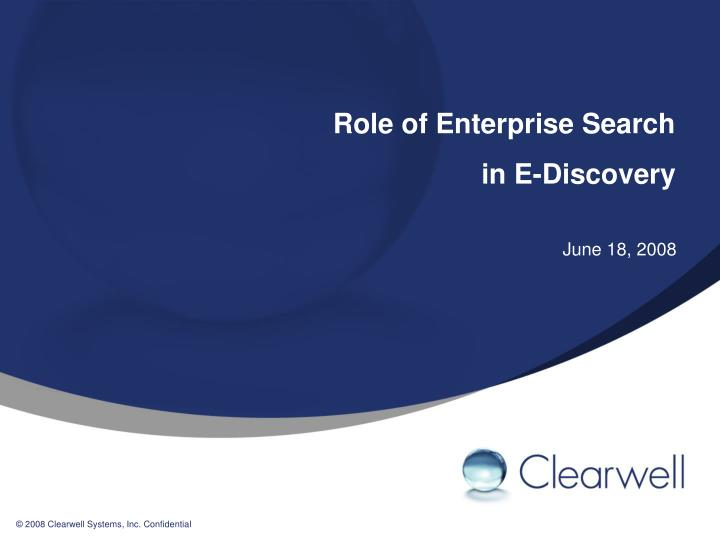 role of enterprise search in e discovery n.