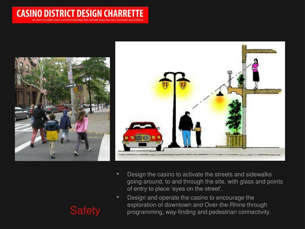 Design the casino to activate the streets and sidewalks going around, to and through the site, with glass and points of entry to place 'eyes on the street'.