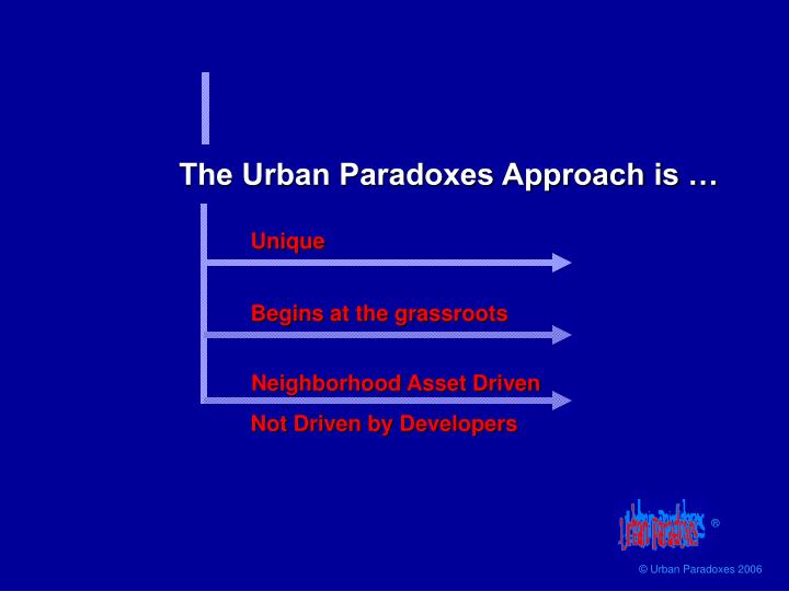 The Urban Paradoxes Approach is …