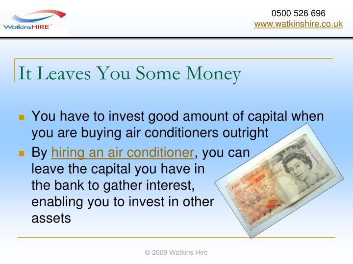 It Leaves You Some Money