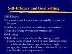 self efficacy and goal setting