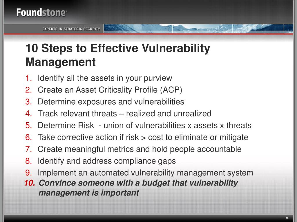 10 Steps to Effective Vulnerability Management