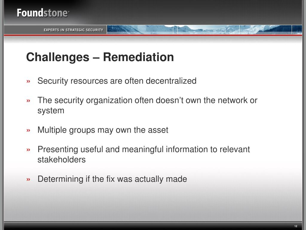 Challenges – Remediation