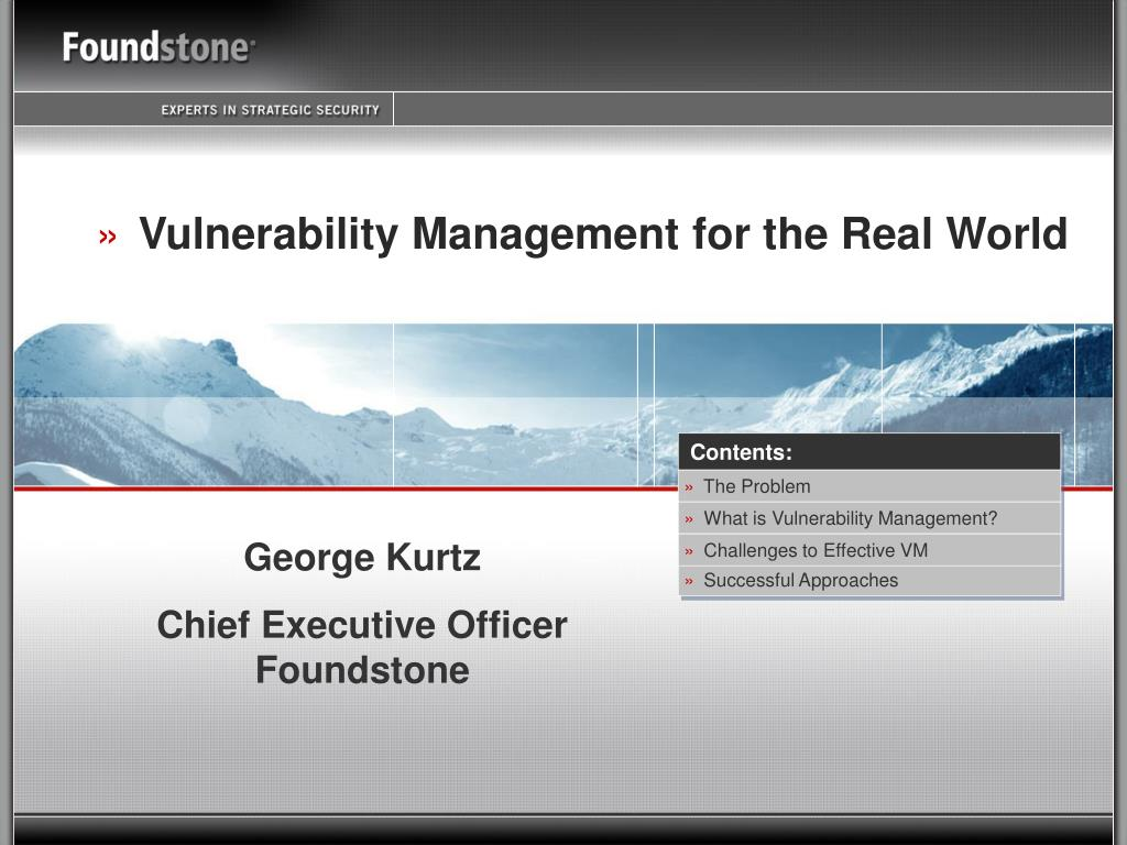 vulnerability management for the real world l.