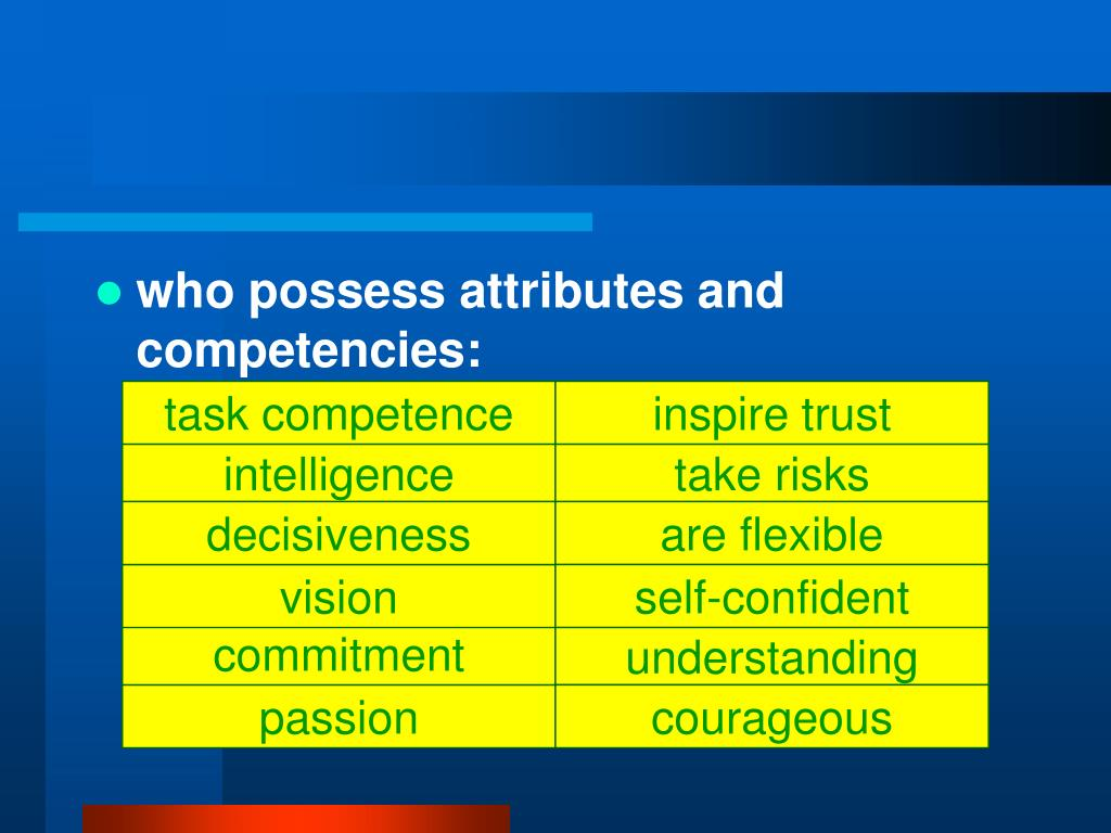 who possess attributes and competencies: