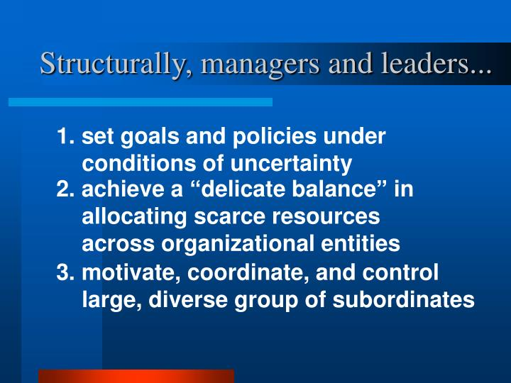 Structurally managers and leaders