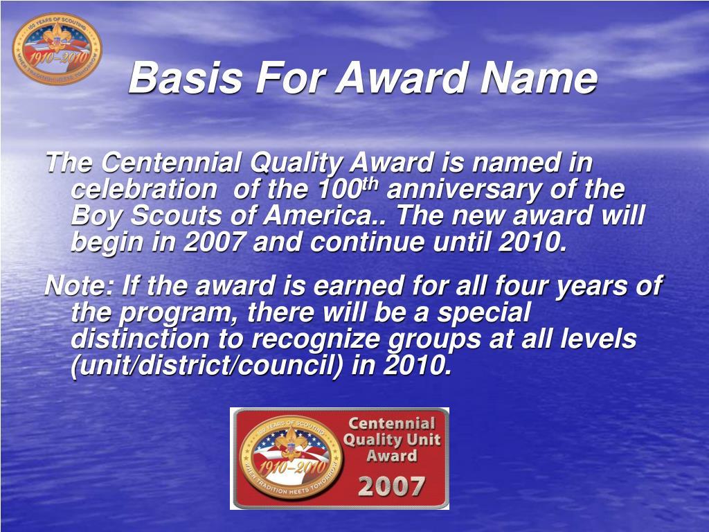 Basis For Award Name