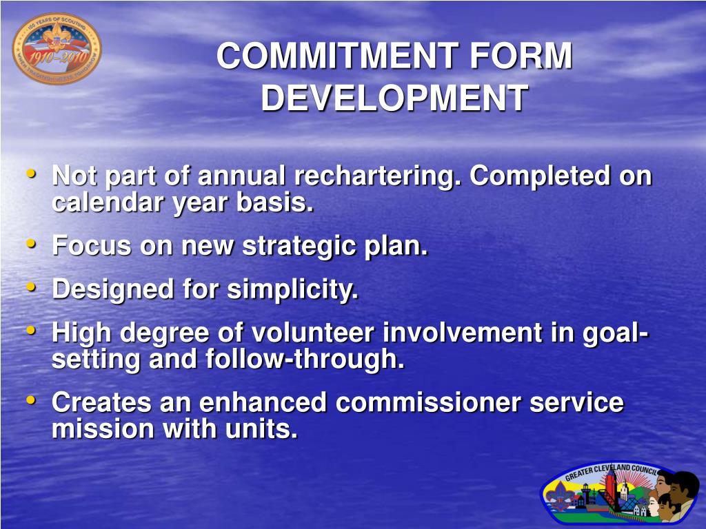 COMMITMENT FORM DEVELOPMENT