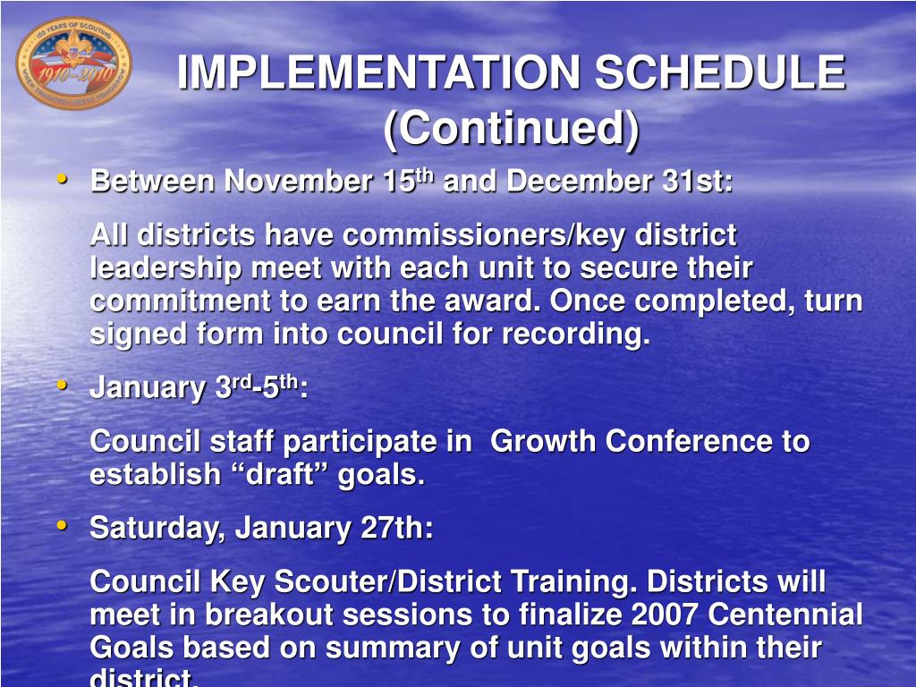IMPLEMENTATION SCHEDULE (Continued)