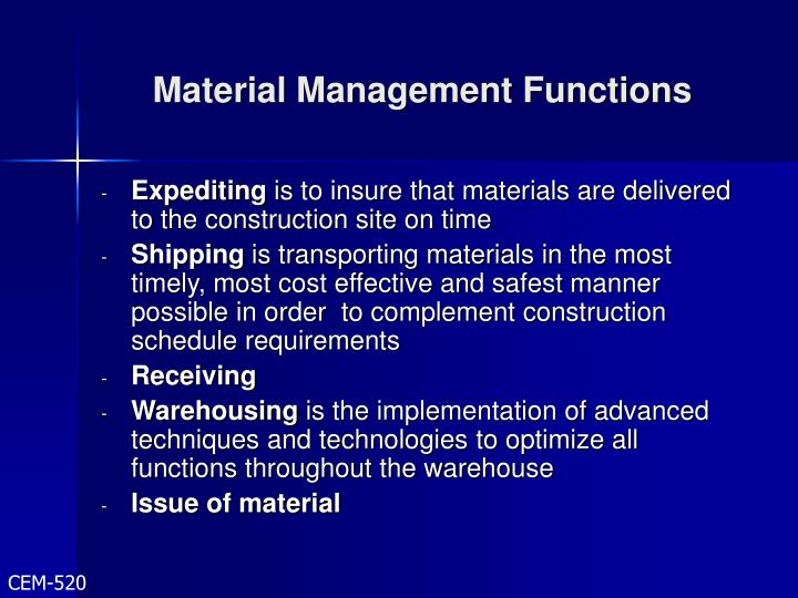 Material Management Functions