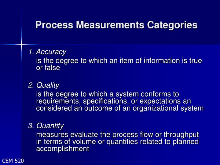 Process Measurements Categories