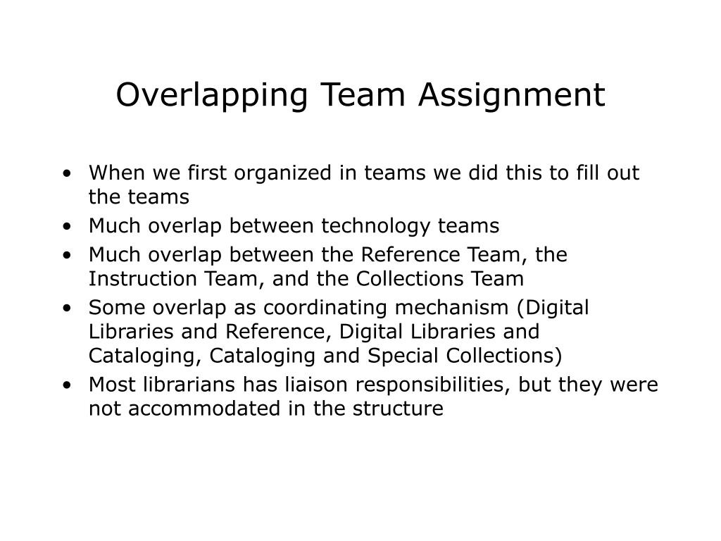 Overlapping Team Assignment