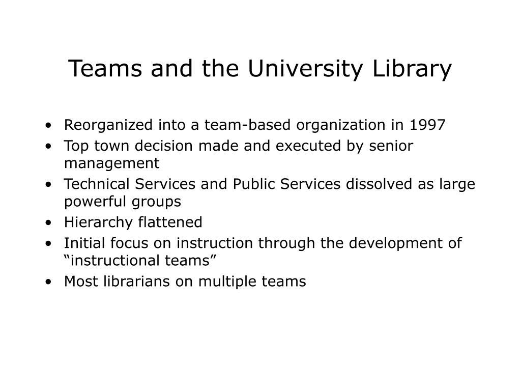 Teams and the University Library
