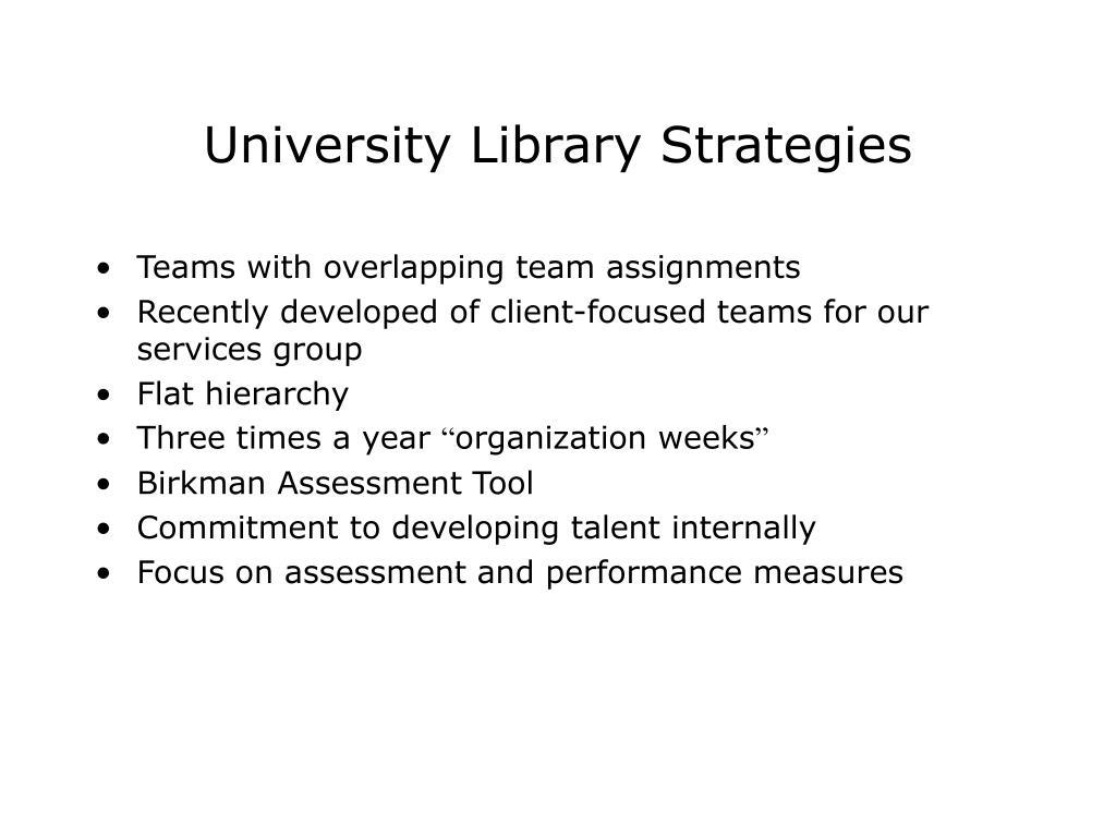 University Library Strategies