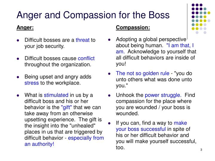 Anger and compassion for the boss