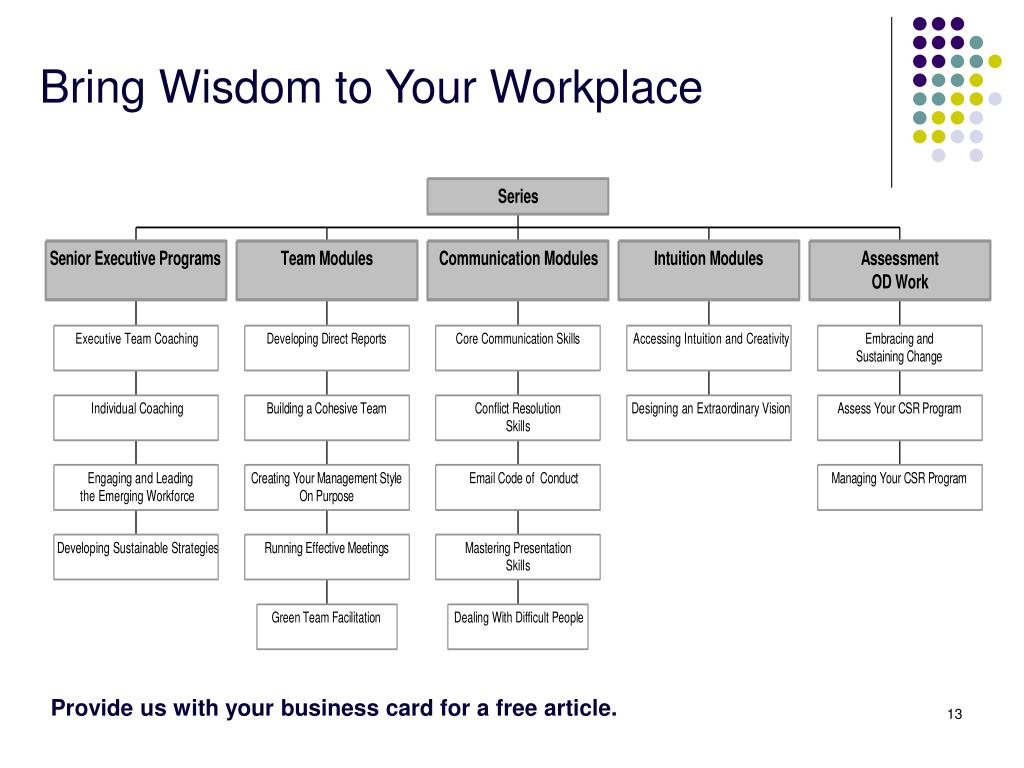 Bring Wisdom to Your Workplace