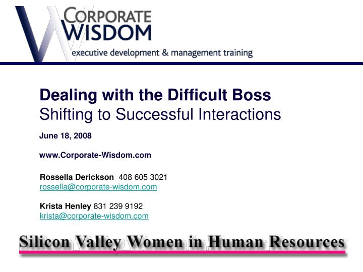 Dealing with the Difficult Boss