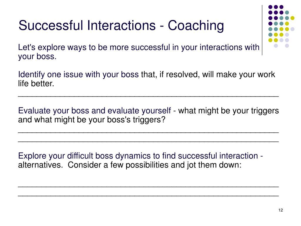 Successful Interactions - Coaching