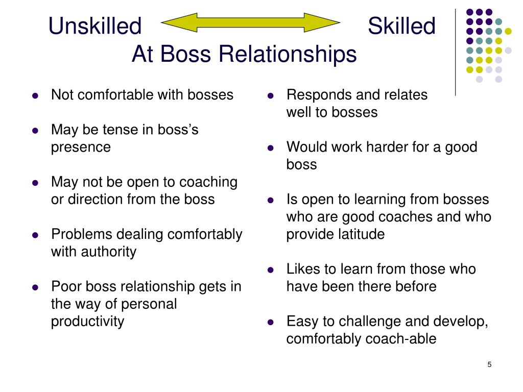Not comfortable with bosses